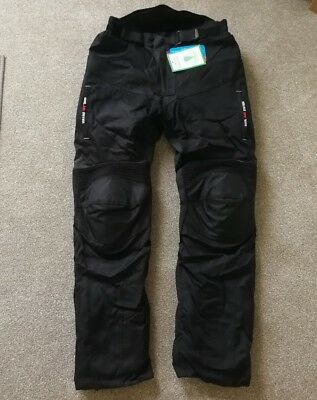 Black Red SPEED MAX Armour Waterproof Motorbike Motorcycle Trousers - Size 34