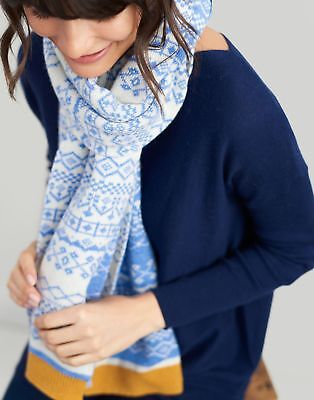 Joules Womens Elsa Fairisle Scarf ONE in BLUE in One Size