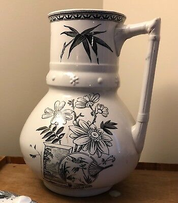 Rare Alcock and Co. Pitcher, black transfer ware aesthetic movement Victorian