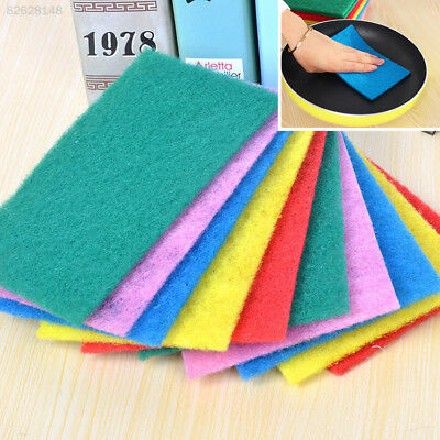 A647 4FC3 10pcs Scouring Pads Cleaning Cloth Dish Towel Scour Scrub High Quality