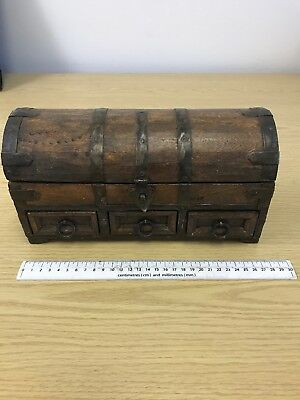 OLD WOODEN BOX/ SMALL TRUNK SHAPE WITH HINGED LID And 3 Drawers