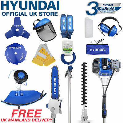 Hyundai Petrol Garden MULTI TOOL 5 in 1 Function Hedge Trimmer Saw Strimmer52cc'