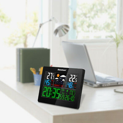 EXCELVAN Wireless Weather Station Temperature Humidity Radio Controlled Clock EU