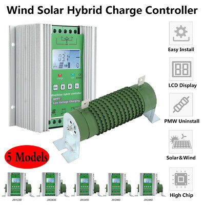 LCD Wind Solar Hybrid Charge Controller MPPT Boost Charge 12/24V Auto 600W 800W