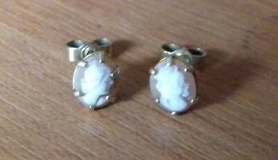 Vintage pair of 9 ct gold earrings Pierced. fine carved cameo Cameo.