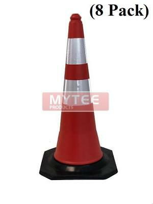 """(8 Pack) Traffic Safety Cone 28"""" w/ Reflective Tape (Stackable)"""