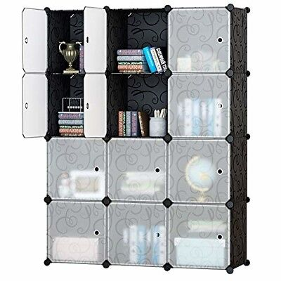 Honey Home Modular Plastic Storage Cube Closet Organizers, Portable DIY Wardrobe