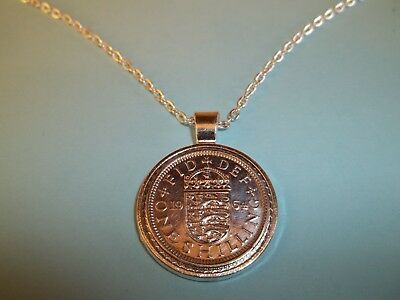 ENGLISH SHILLING COIN - SILVER CASED -  PENDANT NECKLACE - 1962 - 56th BIRTHDAY