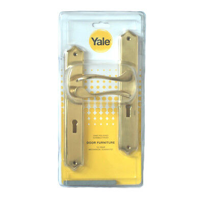 1x Yale Prophecy Door Handle - Brass Lock Cover  - Polished Gold -23cm