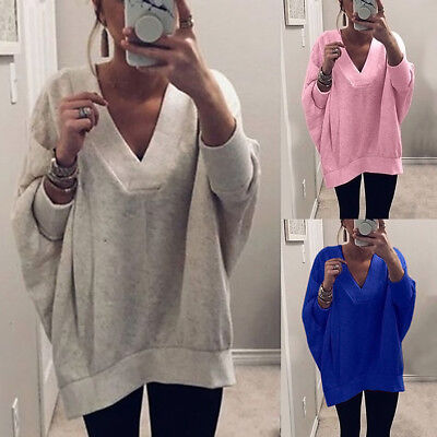 Cn _ Femme Couleur Unie Col V Tricot Manches Longues Pull Loose Pull Su