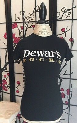 Dewars On The Rocks JR Wom M Black Tee T-shirt Dewar's Blended Scotch Whiskey