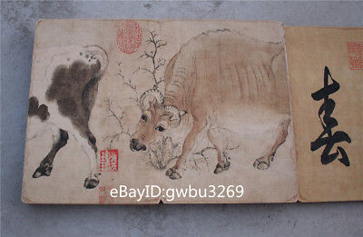 Collection Chinese Painting  Hard Skin Old Book -  Five cattle figure
