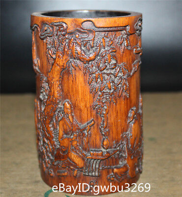 Asian Old Chinese Bamboo Pen holder  Hand Carved Confucius preaching Brush Pot