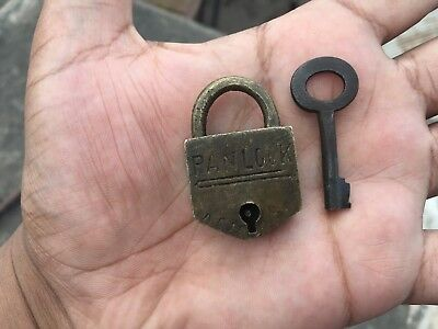 001 Old antique solid brass padlock or lock with key small miniature PANLOCK