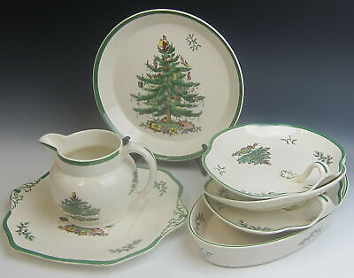 Lot of 7 Spode China CHRISTMAS TREE - GREEN TRIM Serving Pieces MIXED