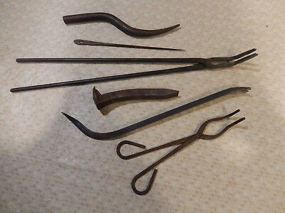 Lot of Antique  vintage  Blacksmith Forging Tongs Tools Hand Forged Unique Rare