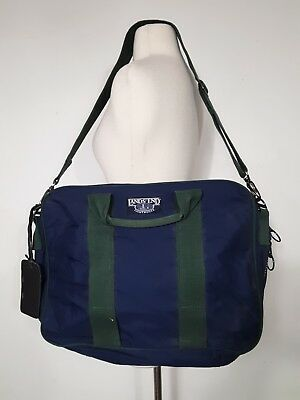VINTAGE LANDS  END Blue Square Rigger Carry On Briefcase Tote Canvas Bag USA a62277efd719a