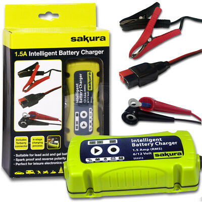 Sakura 1.5A 6-12V Auto Smart Intelligent Car Van Battery Charger & Cable Leads