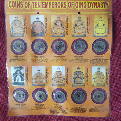 Collect 10x Chinese Copper Coin Ten Emperors Coins Old Dynasty Antique Currency