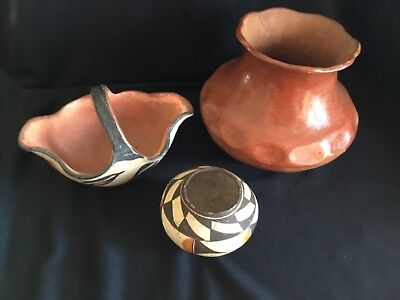 NR Antique Native American Indian Navajo Small Olla Pottery Bowl + Double Bonus