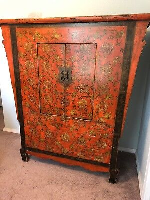 Antique Red Laquer Asian Chinese Painted Cabinet Chest W/ Hidden Bottom