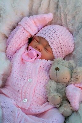 Reborn Baby Girl Doll Pink Knitted Spanish Outfit - Butterfly Babies S016