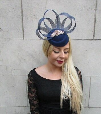 Navy Blue Rose Gold Silver Pillbox Hat Hair Fascinator Clip Races Wedding 6587