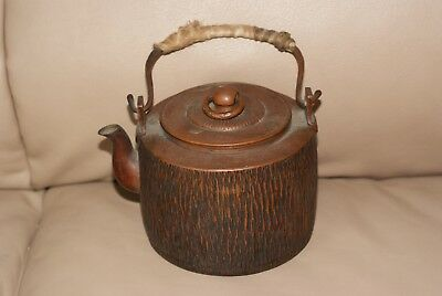 Antique Japanese Meiji Bronze Hammered Teapot