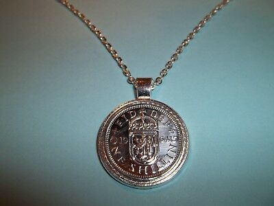 SCOTTISH SHILLING COIN -  SILVER CASED - PENDANT NECKLACE - 1962 - 56th BIRTHDAY