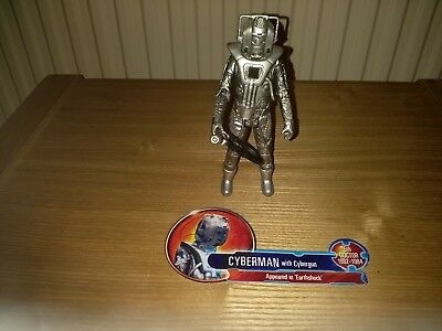 """Doctor Who  Cyberman with Cybergun Blaster Weapon Classic 5"""" Figure Loose."""