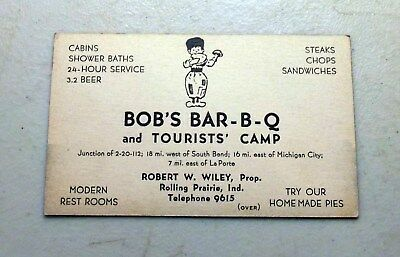 Vintage INDIANA - BOB'S BAR-B-Q and TOURIST COURTS Business Card CABINS/BEER