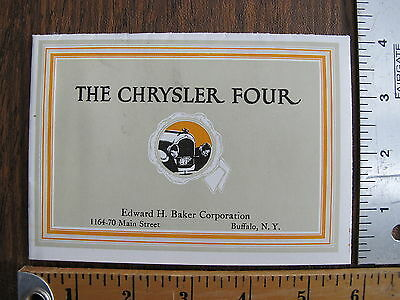 WoW Original 1925 Chrysler Four Dealer Sales Advertising Brochure Poster