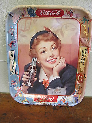 1953 COCA COLA TIN Litho ADVERTISING Soda Fountain TRAY MENU GIRL Coke Tray