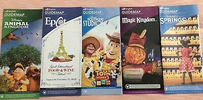 NEW 2018 Walt Disney World Theme Park Guide Maps - 5  Maps 9/18