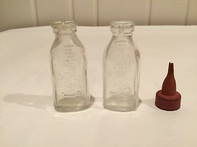 """Vintage Glass 3"""" Baby Doll Bottle with Begging Dog or Fox 1950's? LOT of 2"""