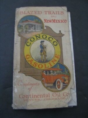 1920 or earlier Conoco Road Map Of New Mexico Continental Oil Co. Gas and Oil
