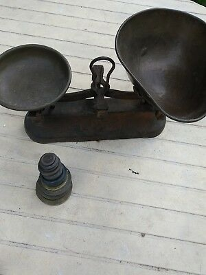 Vintage    Balancing Scales   with weights.  ( Shop scale)