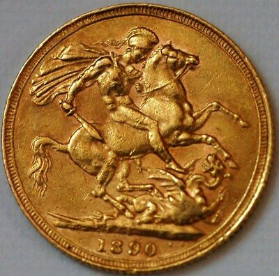 Gold Sovereign 1890 S Victoria KM#10 Sydney Mint Australia Colonial