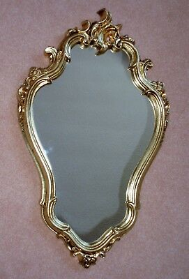 French Rococo Antique Style Gold Coloured Mirror Ornate Oval Scrolls Vintage