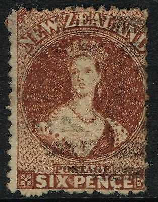SG 122 NEW ZEALAND 1864 - 6d RED-BROWN - USED