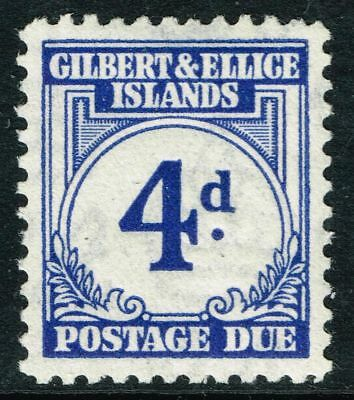 SG D4 GILBERT & ELLICE IS. 1940 POSTAGE DUE - 4d BLUE - MOUNTED MINT