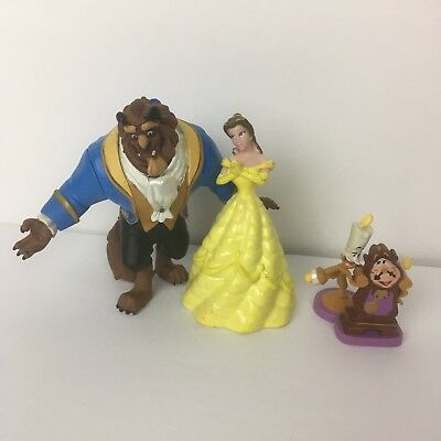 Lot of 3 figurines Disney Beauty and the Beast belle beast candlestick clock