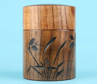Japanese Style High-Grade Solid Wood Hand Carving Orchid Tea Caddy Jar Gift