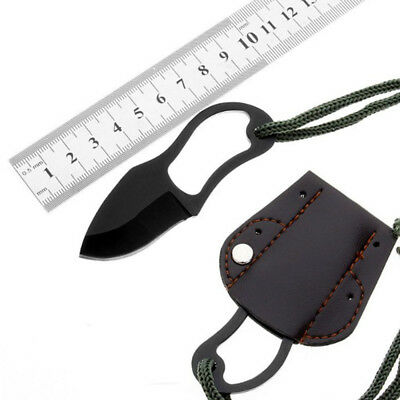 Mini Pocket Finger Paw Self-Defence Survival Fishing Neck Knife With Sheath Set