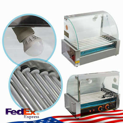 18 Hotdog Roller Commercial Bread Hot Dog 7 Roller Grill Cooker Machine W/ Cover
