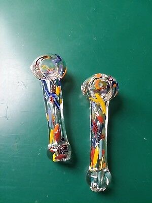 confetti small TOBACCO Smoking Pipe Herb bowl Glass Hand spoon Pipes colorful