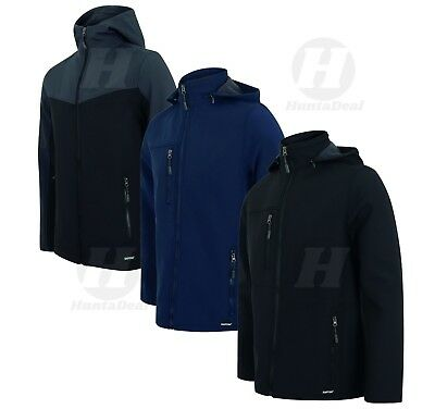 Outdoor Mens Soft Shell Jacket Hood Windproof Fleece Lined Waterproof Pockets
