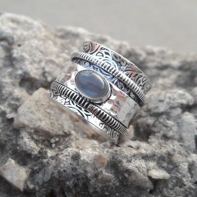 Moonstone Solid 925 Sterling Silver Meditation Ring Statement Ring Size SS020