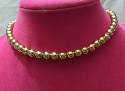 Beautiful Vintage Signed Monet Gold Metal Beaded Necklace