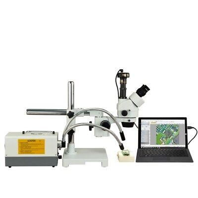 R & Y Fiber Optic Light Zoom Stereo Boom Stand 9.0MP Digital Microscope 2X-90X
